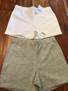 lot girls crewcuts new with tags 6-7 cartwheel Biker shorts white gray