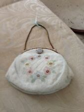 French Hand Beaded Vintage Pastel Evening Bag.   GORGEOUS