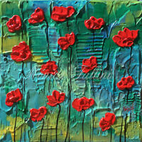 Red Poppies original painting 8 x 8 inch contemporary art by Fallini