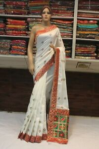 Indian Silk Thread Work Saree Bollywood Heavy Pallu Sari Bridal Party Wear Dres