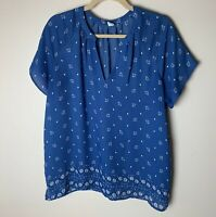 Old Navy Women's Top Size Large Short Sleeves Floral V-Neck Casual Blue White