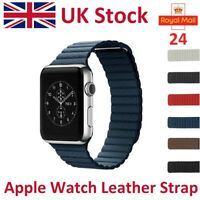 For Apple Watch Leather Strap iWatch Genuine Leather Band Magnetic Milanese Loop