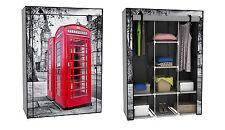 Stoffschrank Kleiderschrank rote Telefonzelle London Kleiderstange Non Waven