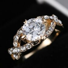 Women Fashion Crystal Gold Plated Engagement Ring Wedding Bridal Jewelry Size 8