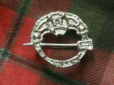SILVERED PEWTER SCOTTISH CELTIC PENANNULAR BROOCH PIN