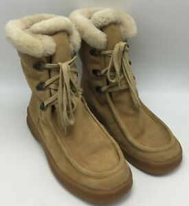 Banana Republic Suede Leather Lace Up SHERPA BOOTS Women's Size 10 Excellent