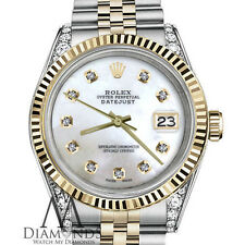 Ladies Rolex 36mm Datejust 2 Tone White MOP Mother Of Pearl Dial with Diamond