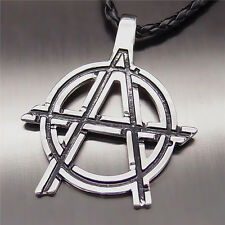 "Men Boy New Fashion Silver Anarchy Symbol Pendant with 20"" Choker Necklace"