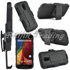 Rugged Impact Hard Stand Case Cover Holster For Motorola Moto G 2nd Gen XT1068