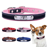 Leather Custom Engraved Personalised Dog Collar Pet Cat Name ID Tag Puppy Kitten