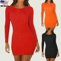 Women Long Sleeve Slim Fit Knit Mini Dress Ladies Casual Party Bodycon Dresses