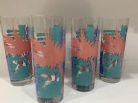 Tall Tumbler High Ball GLASSES TROPICAL OCEAN BEACH ~Palm Trees ~Miami Feel