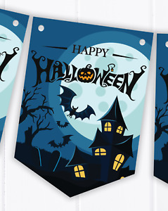 Halloween Party Bunting Decoration - Spooky, Scary Haunted House Banner