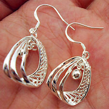 925 Sterling Silver Plated Eardrop Women Jewelry Fan Hoop Dangle Earring Gifts