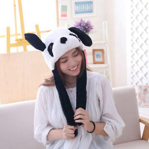 Cute Panda Hat with Moving Ear Funny Soft Plush Moveable Animal Cap with Paw