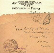 USAF Air Force WW1 Cover *30th SQUADRON AERO*LETTERHEAD Censor 1918 France FC136