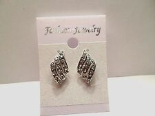 Pretty New White Gold Plated Crystal Angel Wings Post Stud Fashion Earrings