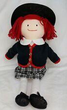 "Madeline Plush Doll Black White & Red Outfit Rare Vintage 1995 Eden 18"" Scar"