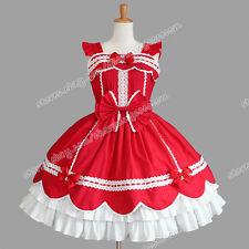 Victorian Sweet Lolita Romantic Gothic Punk Jumper Skirt Red Reenactment Dress
