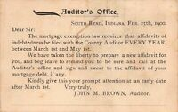 Postcard Mortgage Affidavit Auditor's Office in South Bend, Indiana~126893