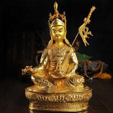 "12"" Antique Tibetan Buddhist hand painting copper gilt Padmasambhava statue"