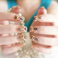 24Pcs`Acrylic design french nails full cover nail tips`false art crystal diam AF