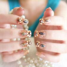 24Pcs`Acrylic design french nails full cover nail tips`false art crystal LI