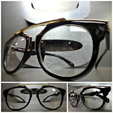 New CLASSIC VINTAGE RETRO Style Clear Lens EYE GLASSES Unique Black & Gold Frame