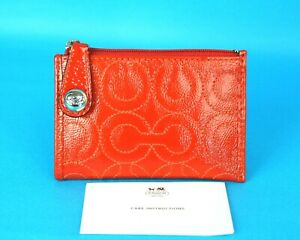 Auth COACH Coin Change Purse Orange PVC Leather ID/Credit Card Holder W/Key Ring