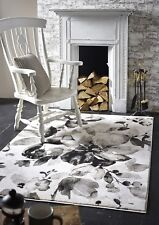 Origins Watercolour Floral Light Weight Flat Pile Woven Rug Grey Various Sizes