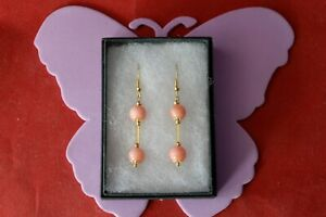 BEAUTIFUL GOLD PLATED EARRINGS WITH CORAL 3.9 GR. 3.7 CM. LONG + HOOKS IN BOX