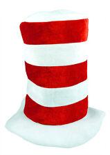 Rossa e Bianca a Righe Tall Top Hat per adulti Dr Seuss Costume Libro Settimana Cappellaio Matto
