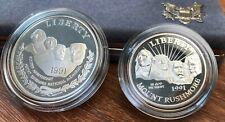 1991 S Mount Rushmore Anniversary Two Coin Silver Proof Set w original box - COA