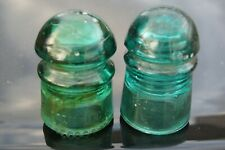 PAIR OF BROOKFIELD INSULATORS BOSTON MASS HARDER TO FIND EXAMPLES No 3 TEETH