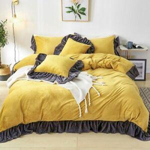 Girl Bedding Set Velvet Flannel Fleece Plush Black Ruffles Duvet Cover Bed Skirt