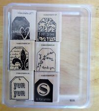 2006 Stampin Up TOO TERRIFIC TAGS 6pc RUBBER INK STAMP SET Fleur De Lis Yum Yum