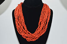 HandMade Coral Glass 10 Line Beads Necklace with Carton