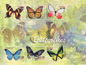 Grenada 2005 MNH 6v SS, Butterflies, Insects, Flowers