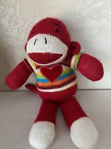 Dan Dee Sock Monkey Red  Body Striped Colorful sweater red Heart Valentine
