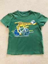Mini Boden Green Giraffe On A Bicycle T-Shirt Size 5-6T