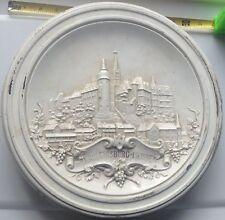 """antique ceramic round tile, centerpiece of antique stove, ~1750, 13"""" diameter"""