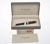 Montegrappa Nerouno Black & >Pink Gold roller pen new pristine in box