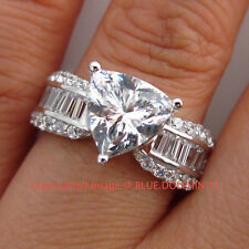Antique Genuine Solid 9k White Gold Engagement Wedding Rings Simulated Diamonds