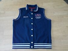 Roots USA Women's Vest Jacket Navy Blue Olympic Team Large