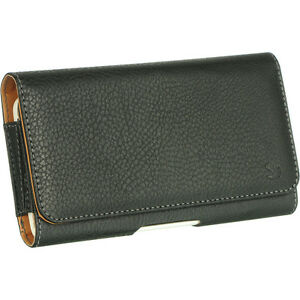 for XL LARGE Phones - BLACK PU Leather Pouch Holder Belt Clip Holster SKin Case