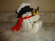 "Wooden Wood Snowman Holiday Winter Figure w/Bird Red Scarf 5 1/4"""