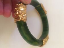 Bakelite Bangle Bracelet Green Marble With Gold Accents