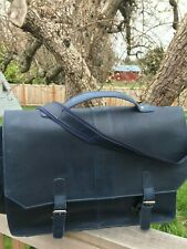 Special Edition Dark Navy Blue, Buffalo Leather Messenger Bag/Briefcase 18x13x4