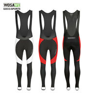 Mens Padded Cycling Bib Pants Thermal fleece Compression Bike trousers tights