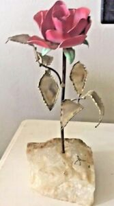 CURTIS JERE Era Metal and Painted Flower Rose Sculpture MID CENTURY